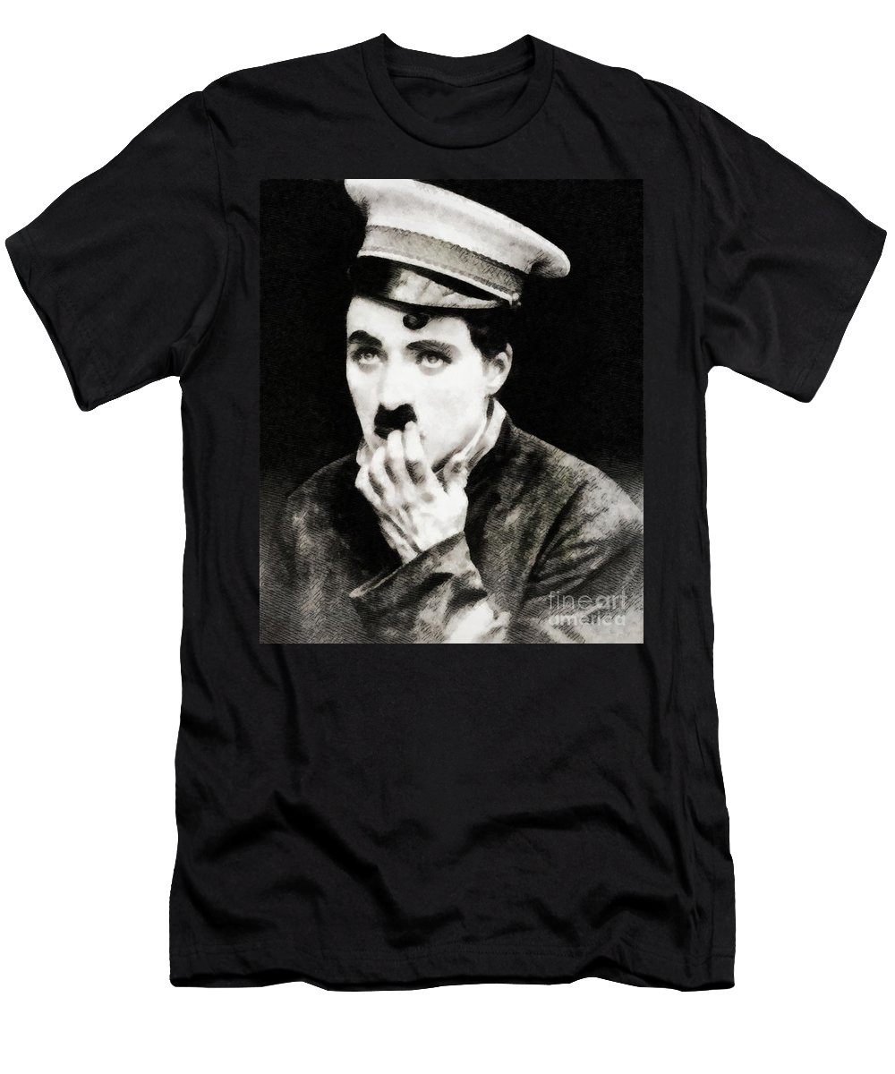 Charlie Men's T-Shirt (Athletic Fit) featuring the painting Charlie Chaplin, Vintage Actor And Comedian by John Springfield