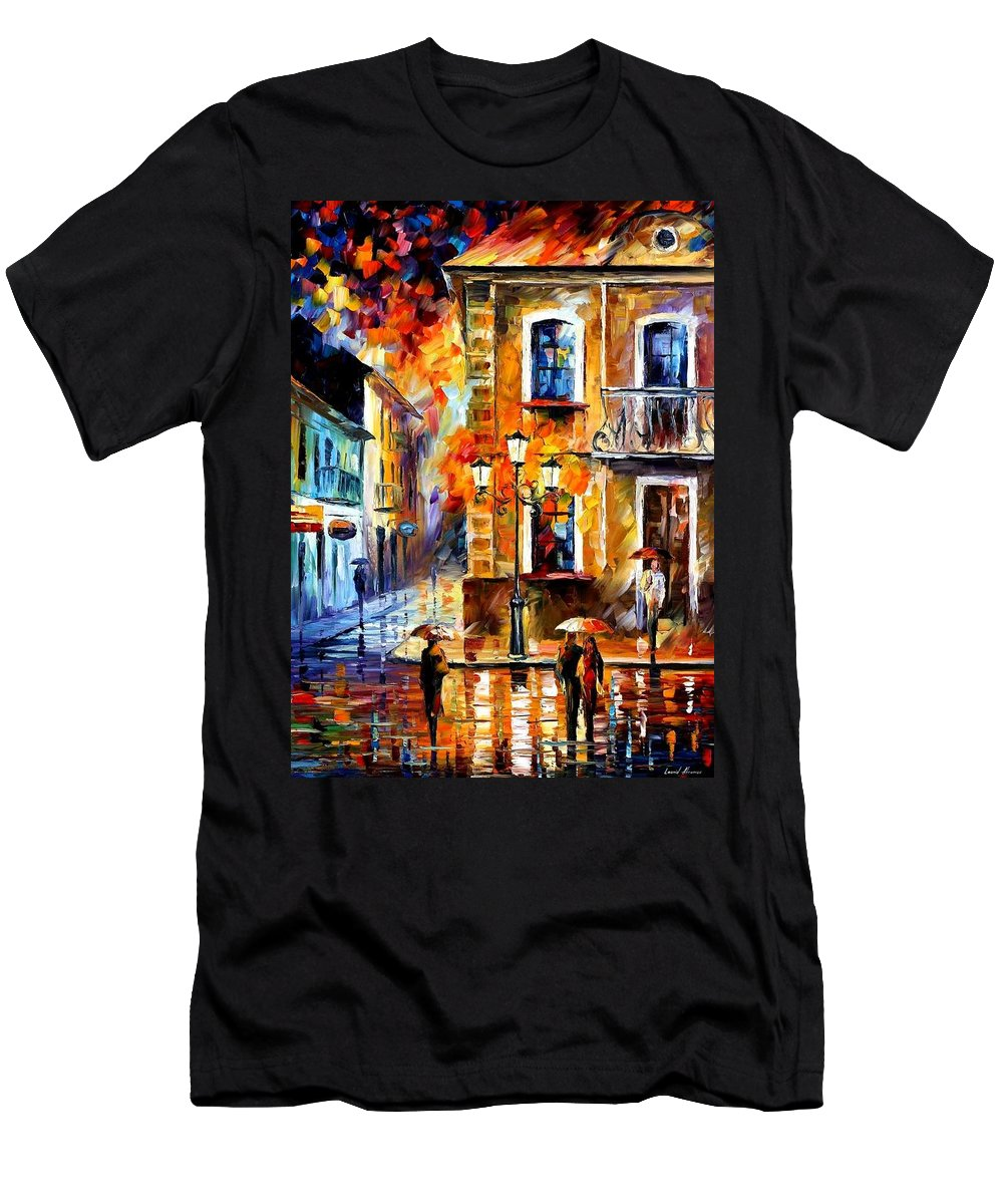 Afremov Men's T-Shirt (Athletic Fit) featuring the painting Charming Night by Leonid Afremov