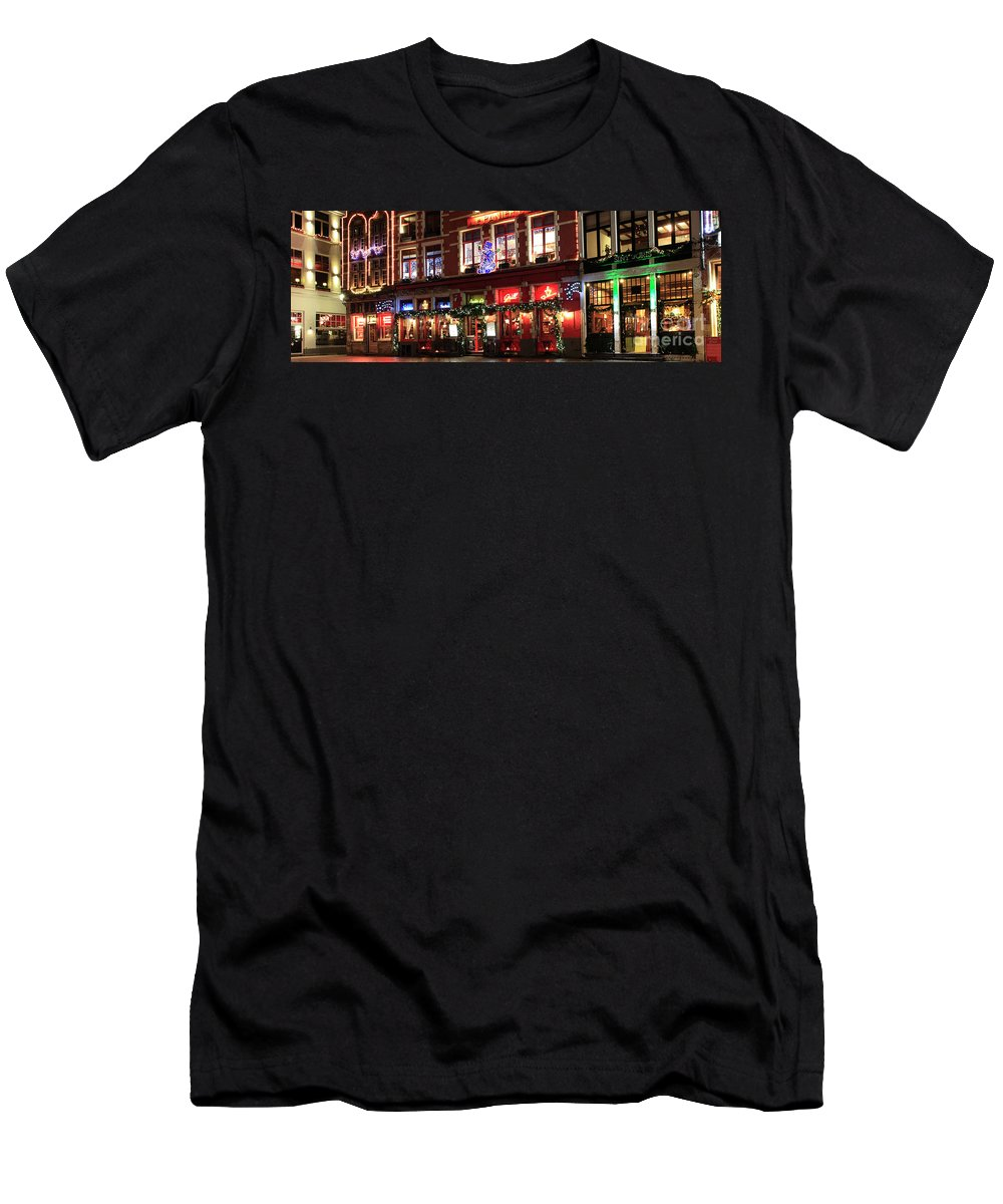 Christmas Decorations Men's T-Shirt (Athletic Fit) featuring the photograph Christmas Decorations On The Buildings, Bruges City by Dave Porter