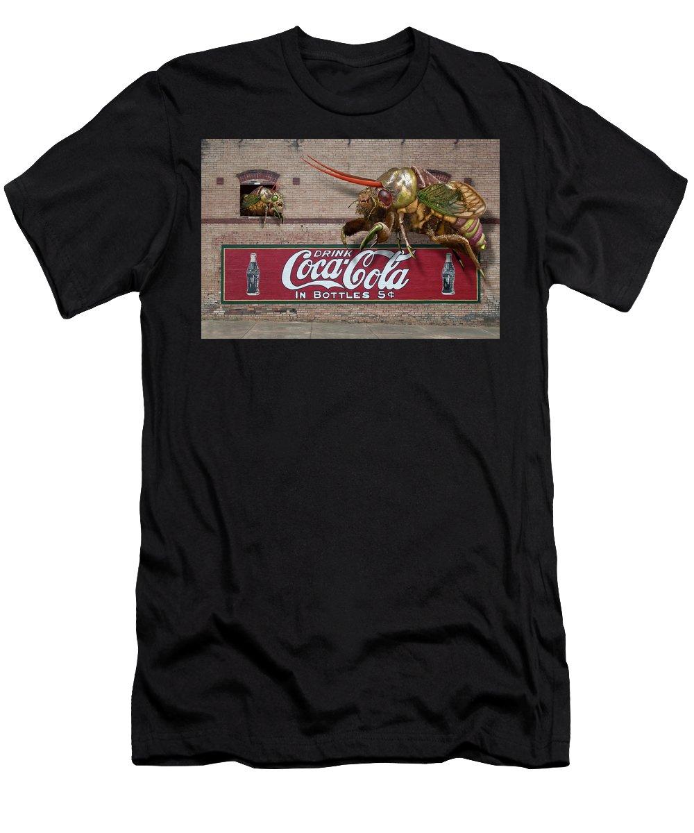 Cicada Turf War Bug Men's T-Shirt (Athletic Fit) featuring the digital art Cicada Turf War by Bob Sanford