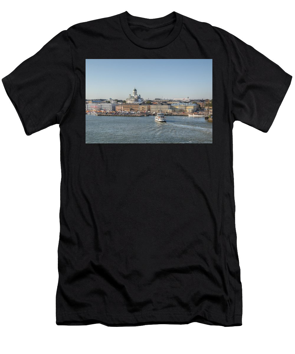 Cityscape Men's T-Shirt (Athletic Fit) featuring the photograph City By The Sea by Kristina Rinell