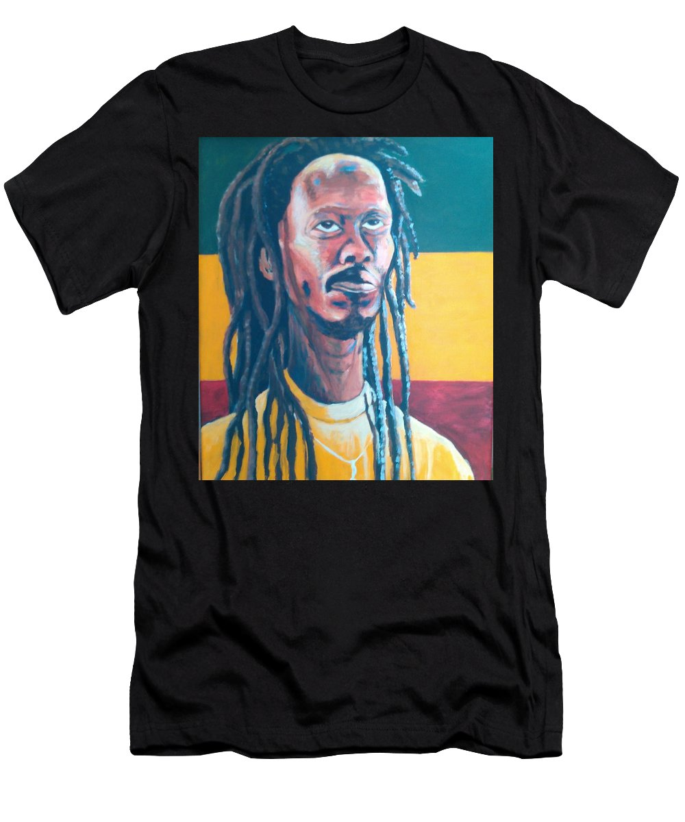 Rasta Portrait T-Shirt featuring the painting ColorPS by Andrew Johnson