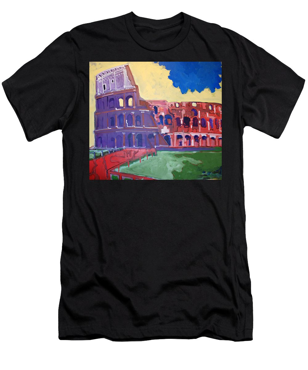 Rome Men's T-Shirt (Athletic Fit) featuring the painting Colosseum by Kurt Hausmann