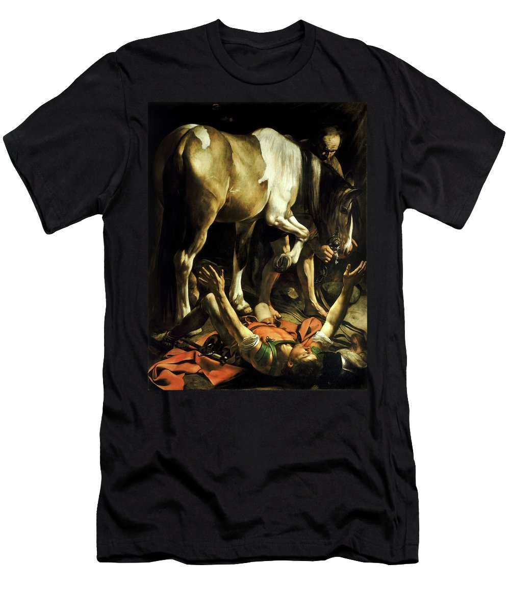 Michelangelo Caravaggio Men's T-Shirt (Athletic Fit) featuring the painting Conversion On The Way To Damascus by Troy Caperton