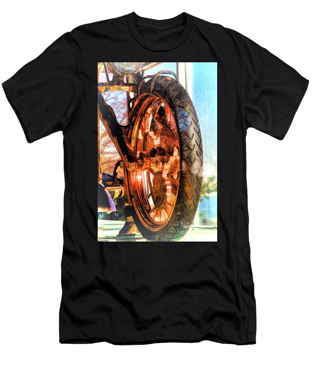 Liberty Bike Men's T-Shirt (Athletic Fit) featuring the photograph Copper Bike Liberty Ambassador Ny by Chuck Kuhn