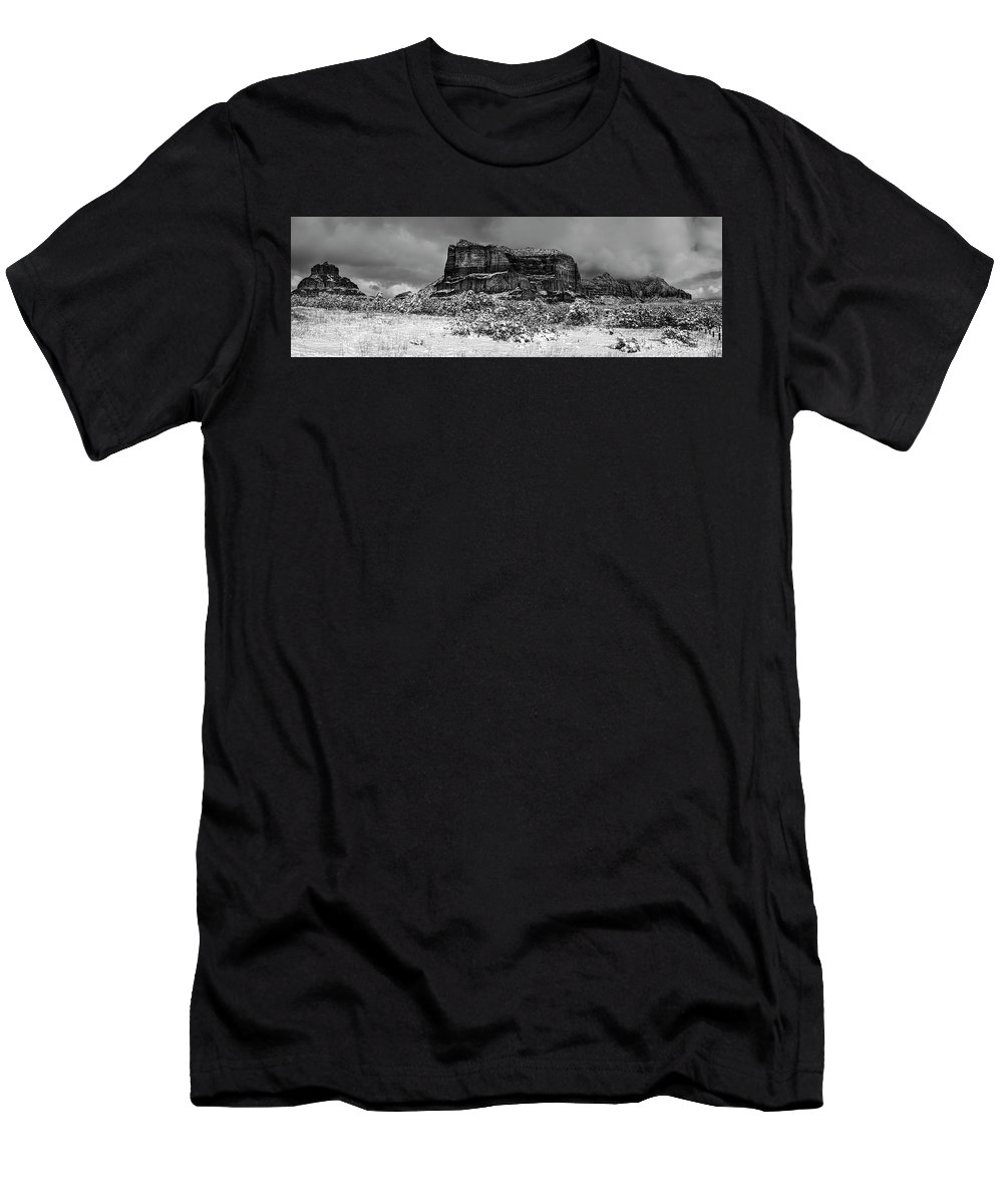 America Men's T-Shirt (Athletic Fit) featuring the photograph Courthouse Butte And Bell Rock Under Snow by Alexey Stiop