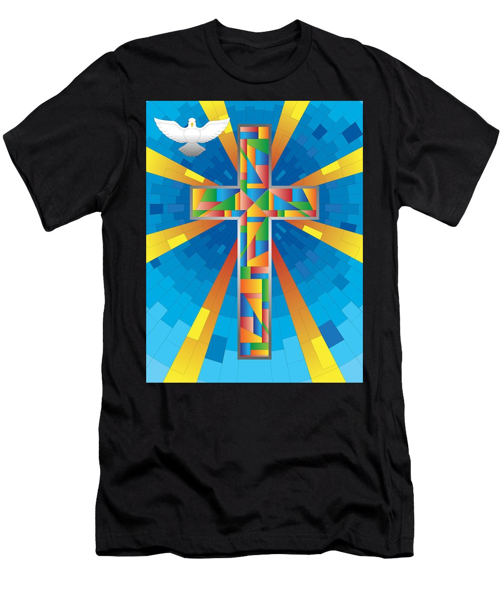 Abstract Men's T-Shirt (Athletic Fit) featuring the digital art Cross With Dove by Ken Irrgang