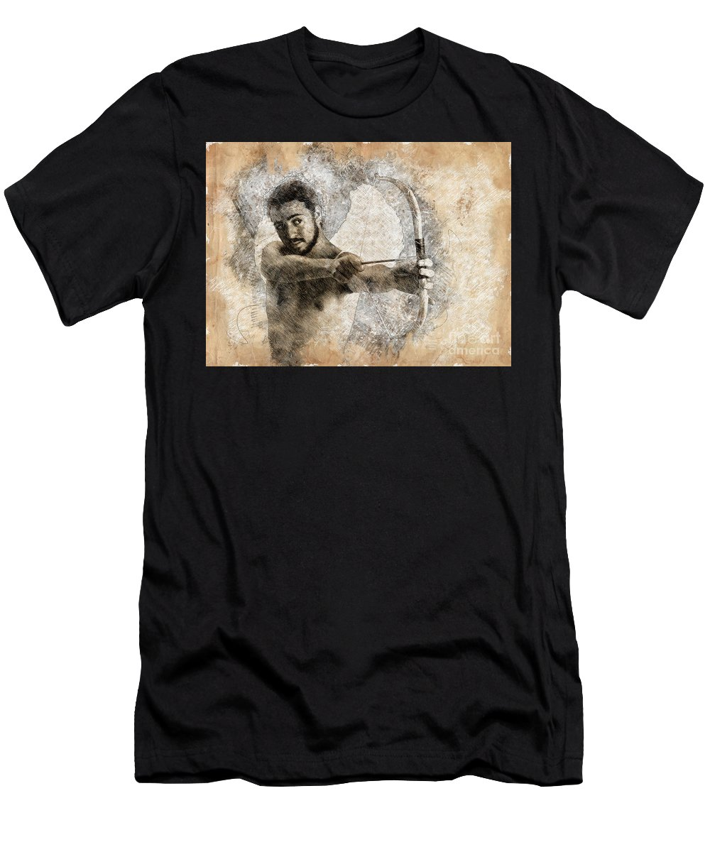 Eros Men's T-Shirt (Athletic Fit) featuring the photograph Cupid The God Of Desire 5 by Humorous Quotes