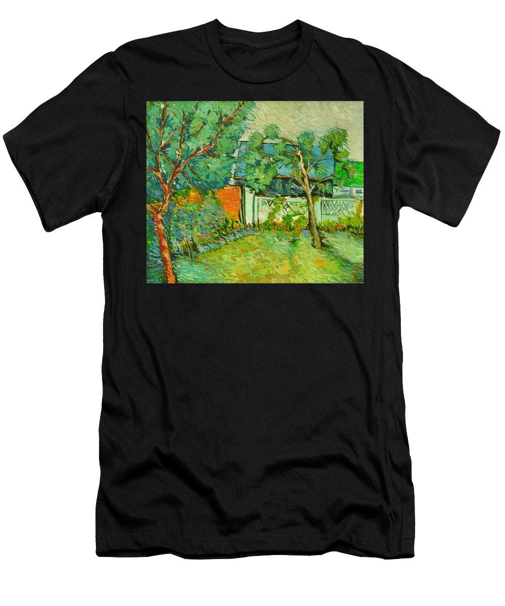 Men's T-Shirt (Athletic Fit) featuring the painting Curtea De La Tara by Radulea Gheorghe