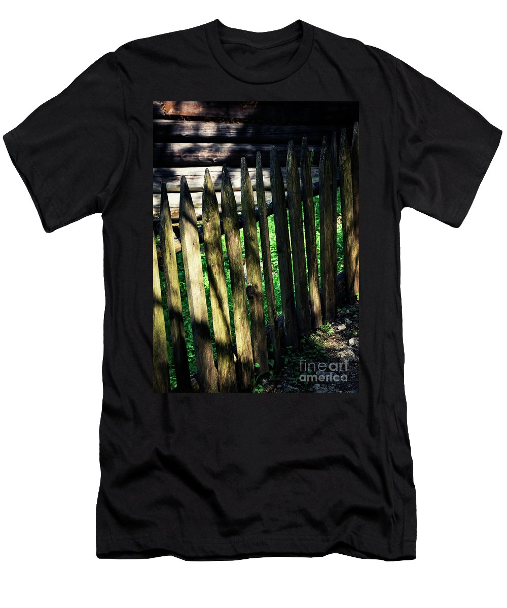 Outside Men's T-Shirt (Athletic Fit) featuring the photograph Detail Of An Old Wooden Fence by Jozef Jankola