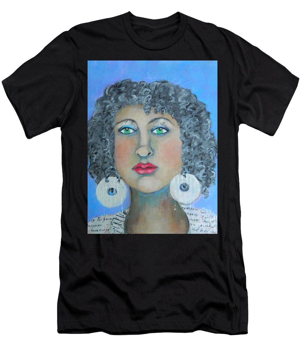 Woman Men's T-Shirt (Athletic Fit) featuring the painting Determined by Kate Marion Lapierre