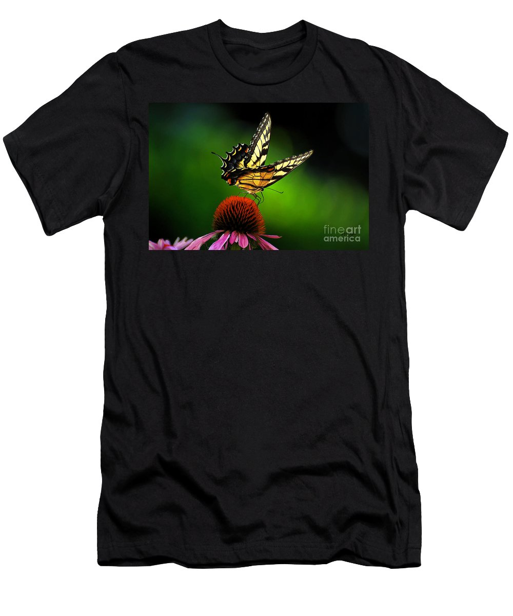 Butterfly Men's T-Shirt (Athletic Fit) featuring the photograph Dining Alone by Lois Bryan
