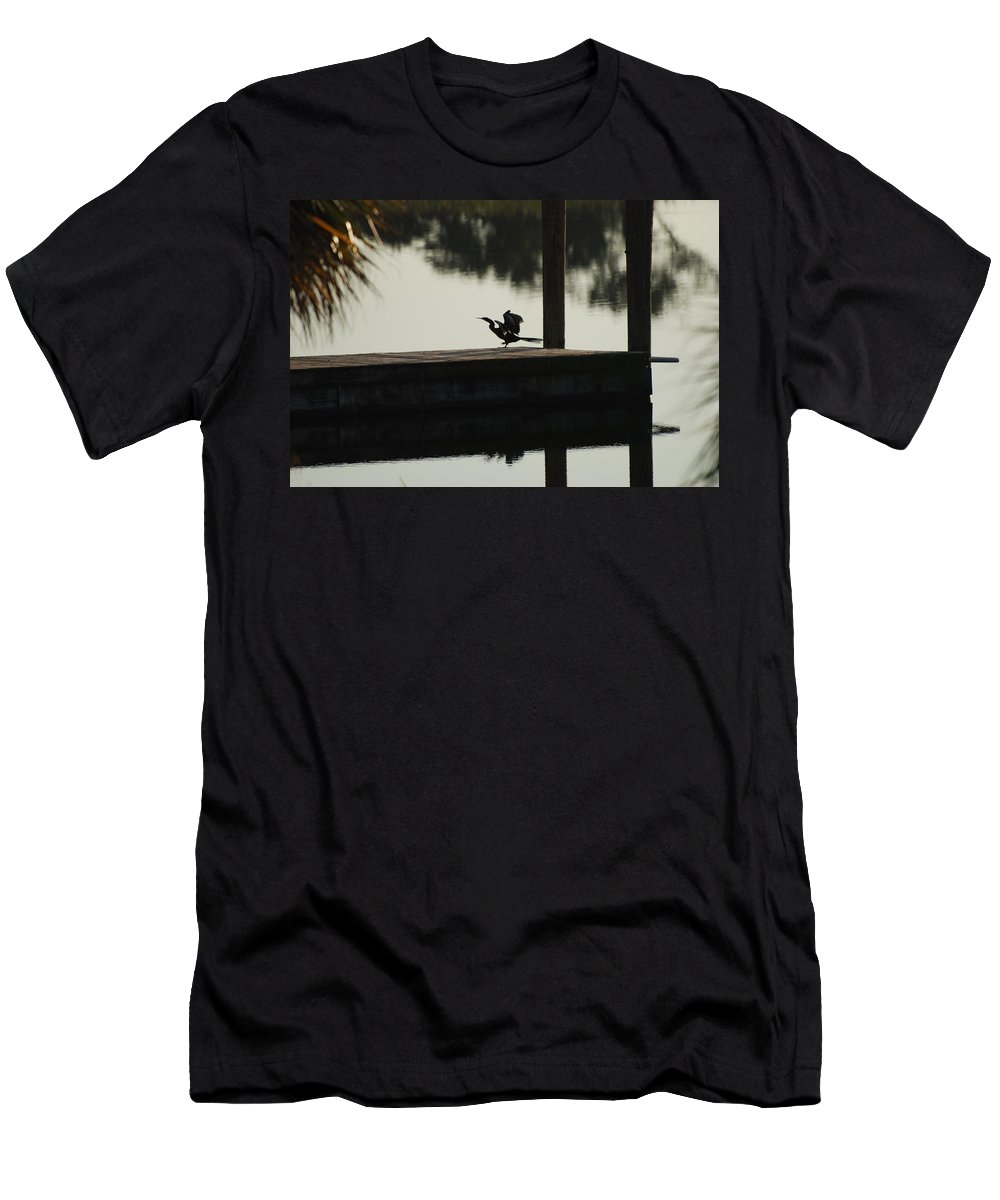 Reflections Men's T-Shirt (Athletic Fit) featuring the photograph Dock Bird by Rob Hans
