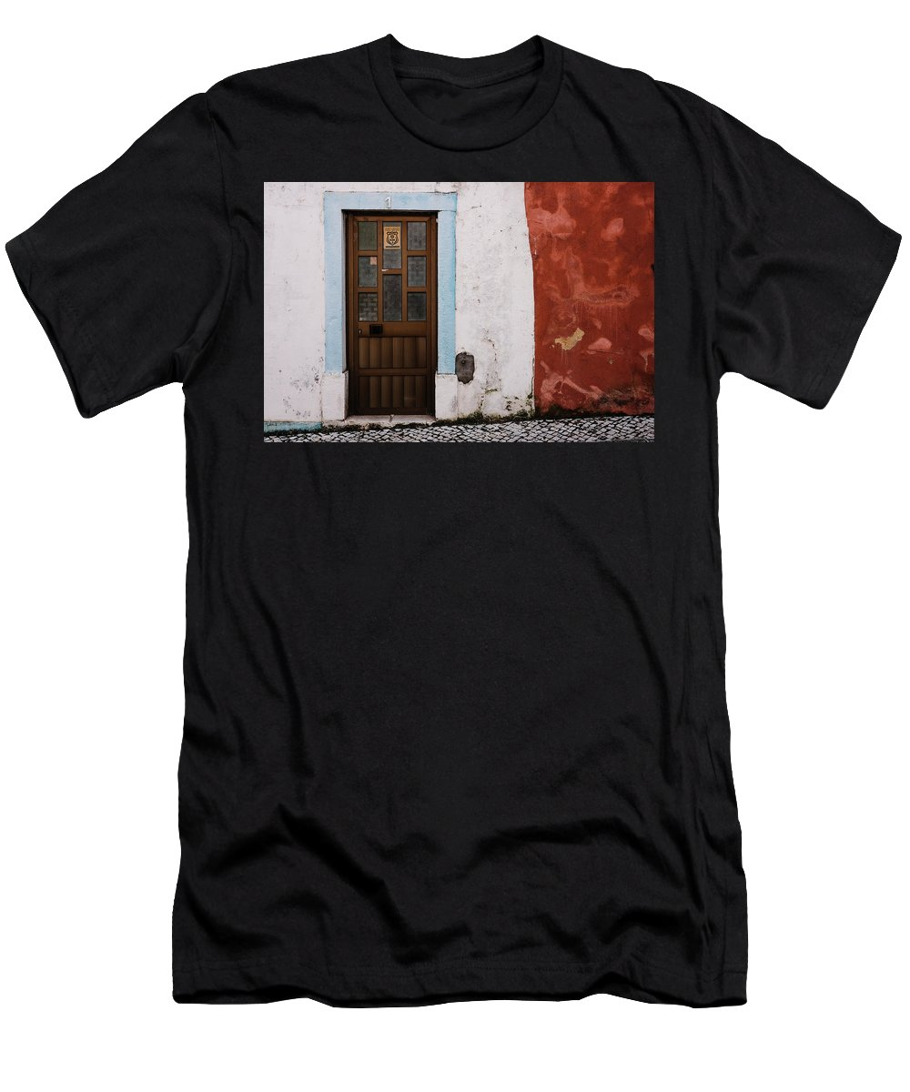 Town Men's T-Shirt (Athletic Fit) featuring the photograph Door No 1 by Marco Oliveira