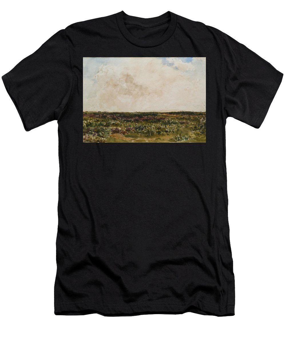 Thomas Collier Men's T-Shirt (Athletic Fit) featuring the painting Dorset Landscape by MotionAge Designs