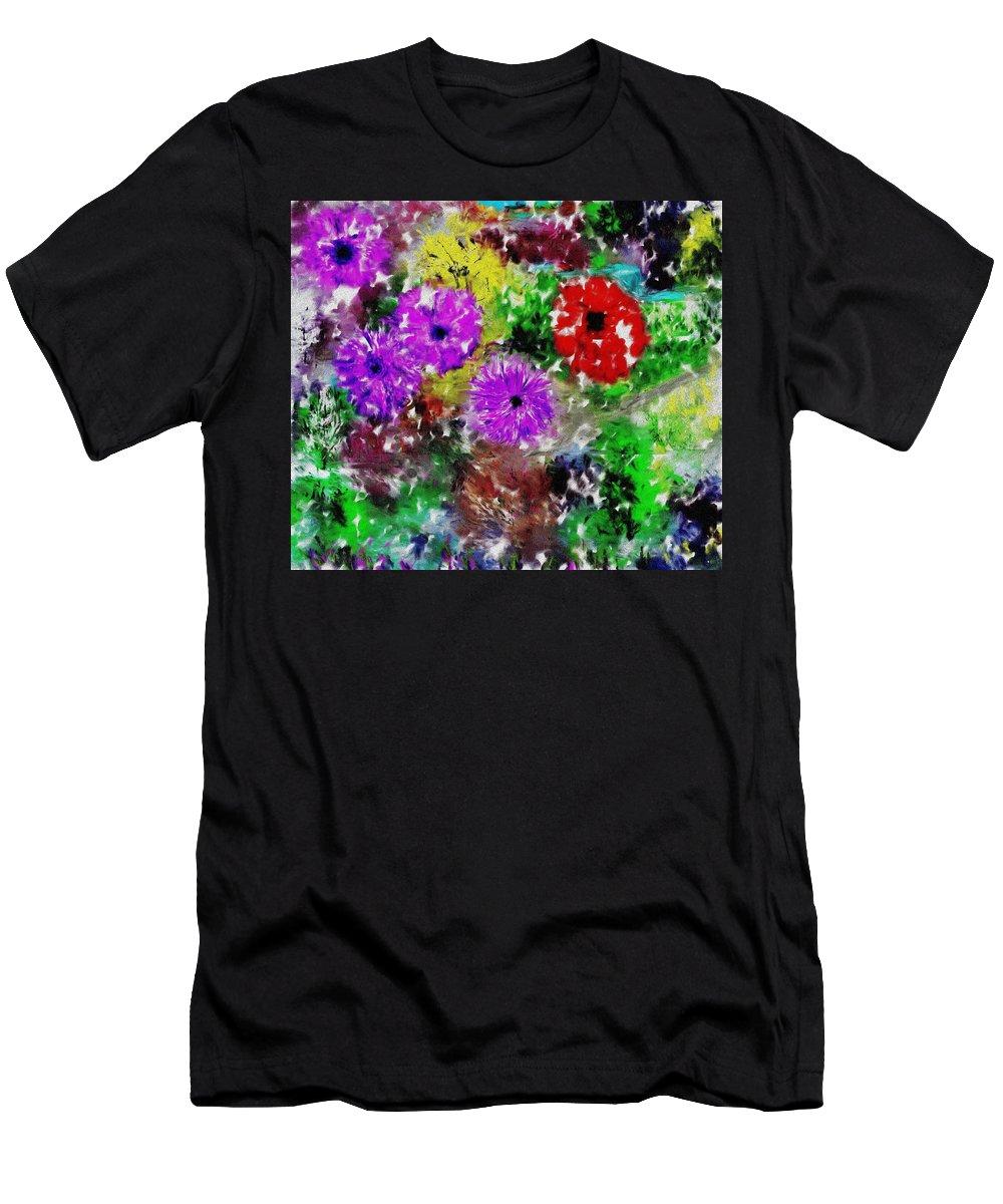 Landscape Men's T-Shirt (Athletic Fit) featuring the digital art Dream Garden II by David Lane