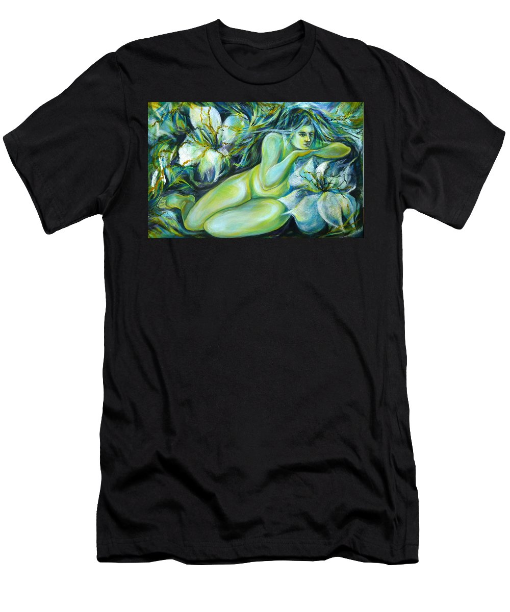 Fantasy Art Men's T-Shirt (Athletic Fit) featuring the painting Dreaming Flower by Anna Duyunova