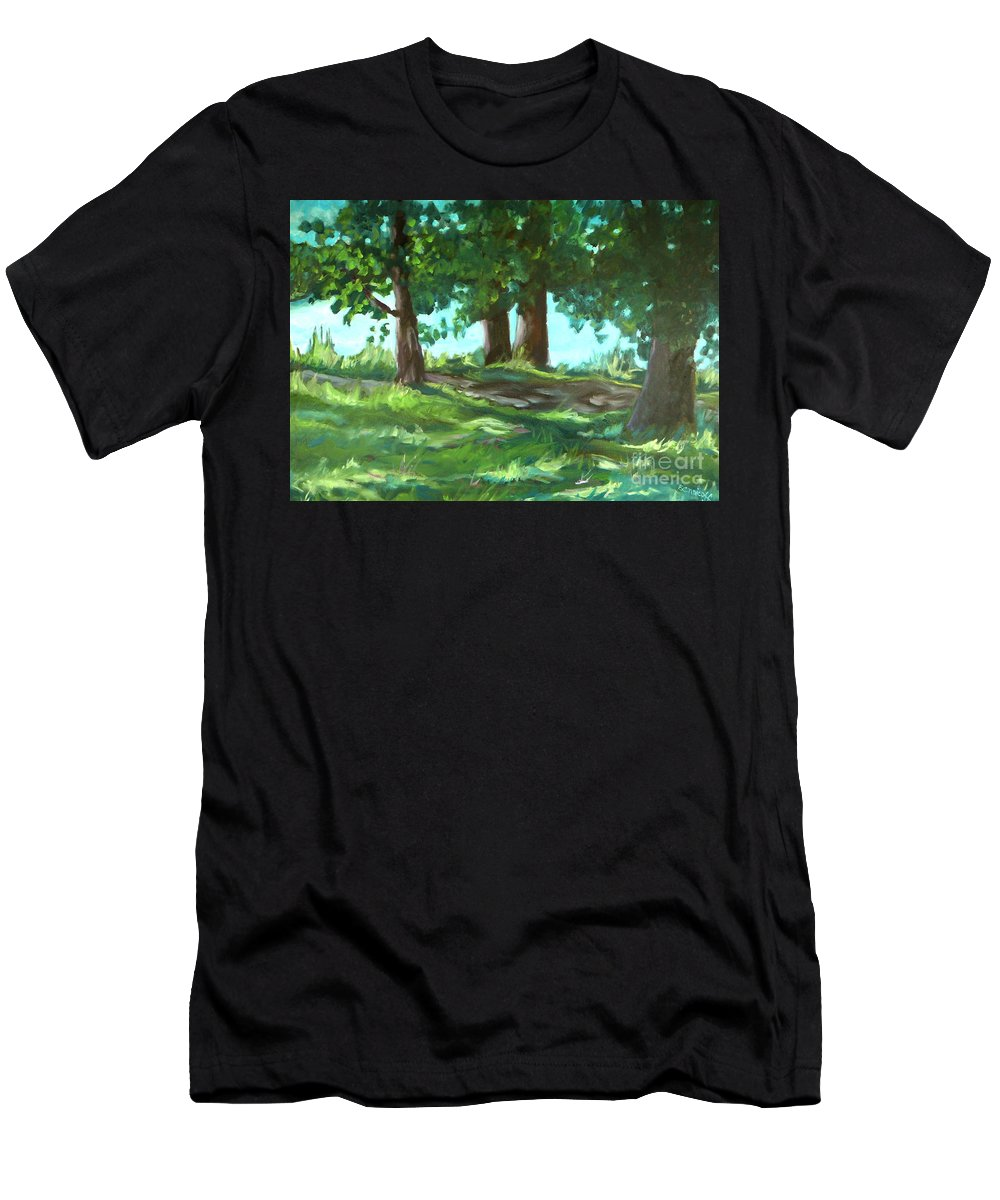 Expressionist Landscape Men's T-Shirt (Athletic Fit) featuring the painting Dreaming On Fellows Lake by Jan Bennicoff