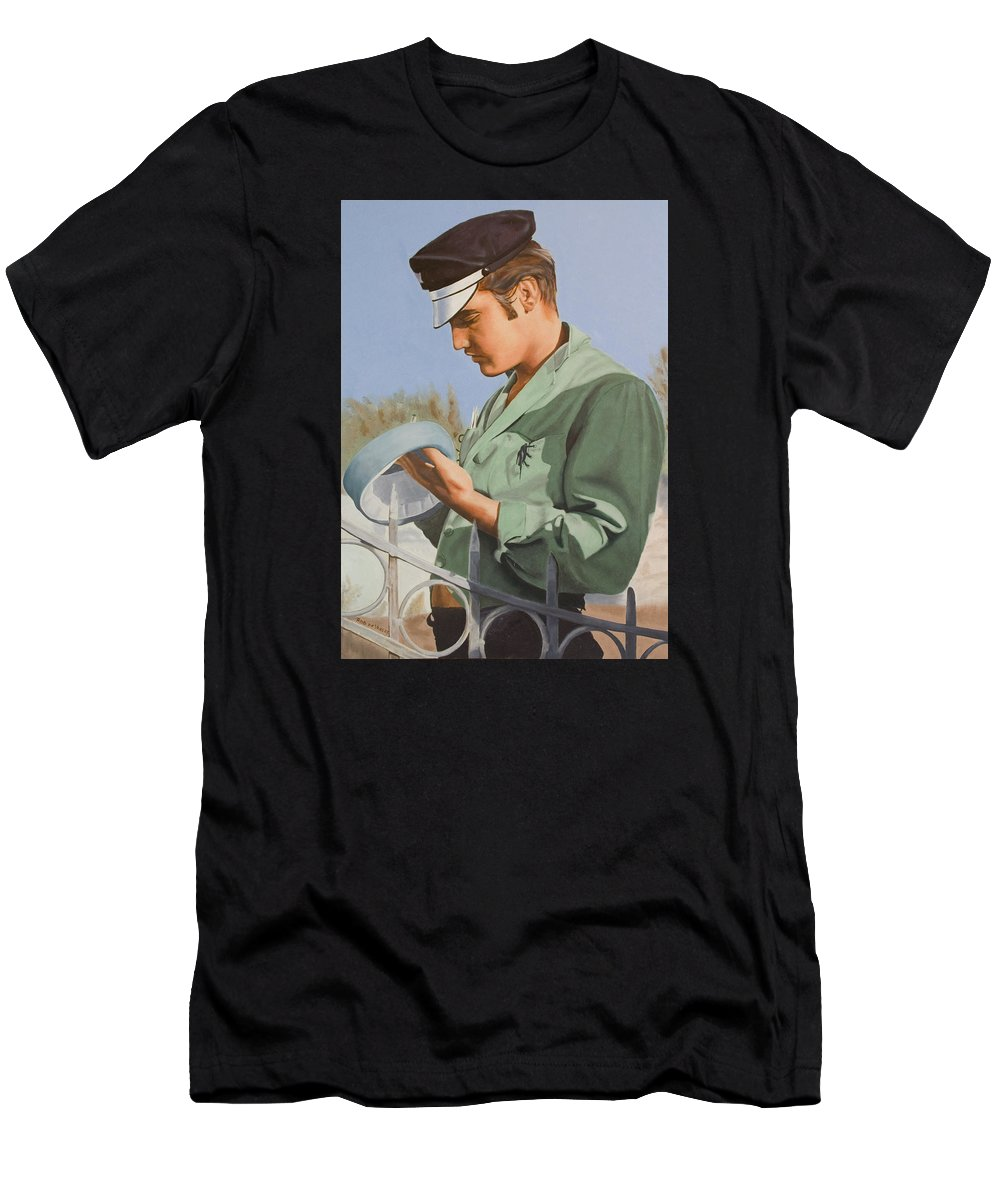 Singer Men's T-Shirt (Athletic Fit) featuring the painting Elvis Presley by Rob De Vries