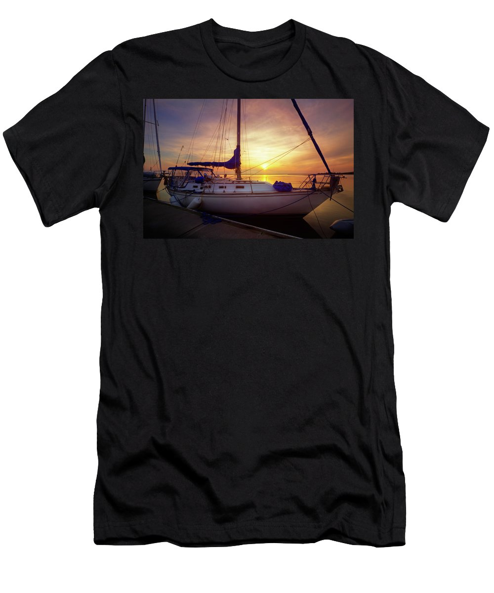 Boats Men's T-Shirt (Athletic Fit) featuring the photograph Evening Harbor At Rest by Debra and Dave Vanderlaan