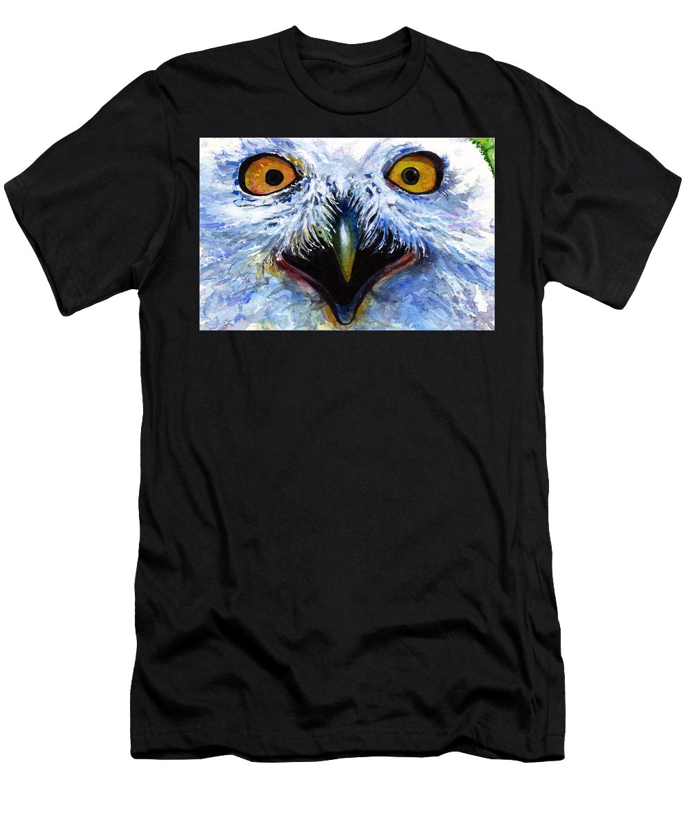 Eye Men's T-Shirt (Athletic Fit) featuring the painting Eyes Of Owls No. 15 by John D Benson