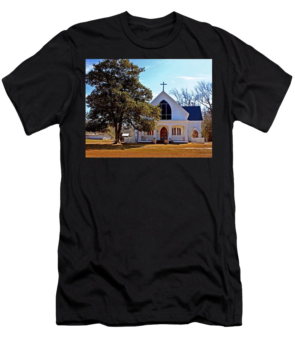Church Men's T-Shirt (Athletic Fit) featuring the painting Fairhope Sacred Heart Church by Michael Thomas