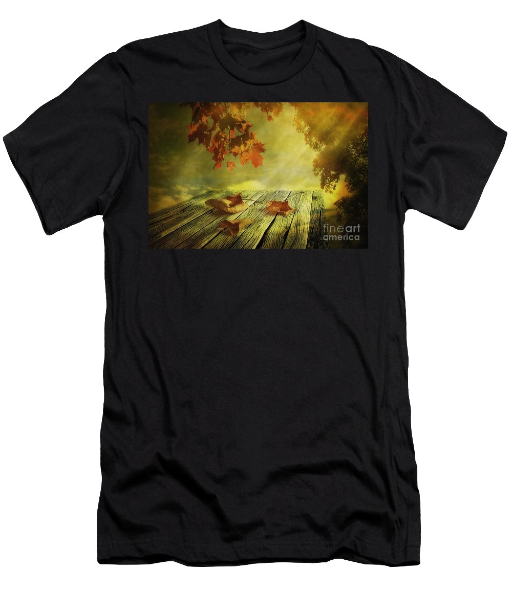 Art Men's T-Shirt (Athletic Fit) featuring the photograph Fallen Leaves by Veikko Suikkanen