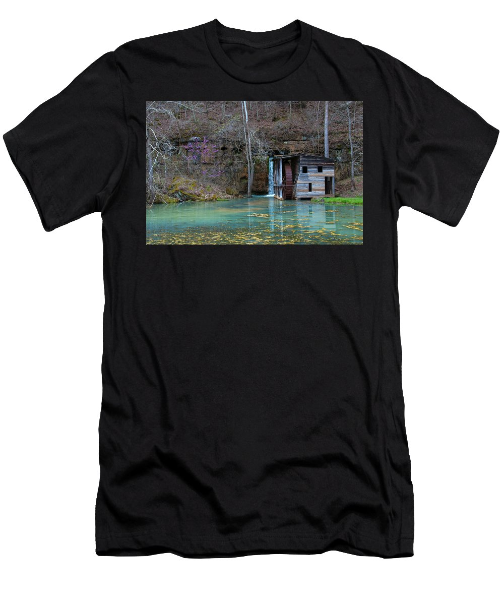 Missouri Men's T-Shirt (Athletic Fit) featuring the photograph Falling Spring Mill by Steve Stuller