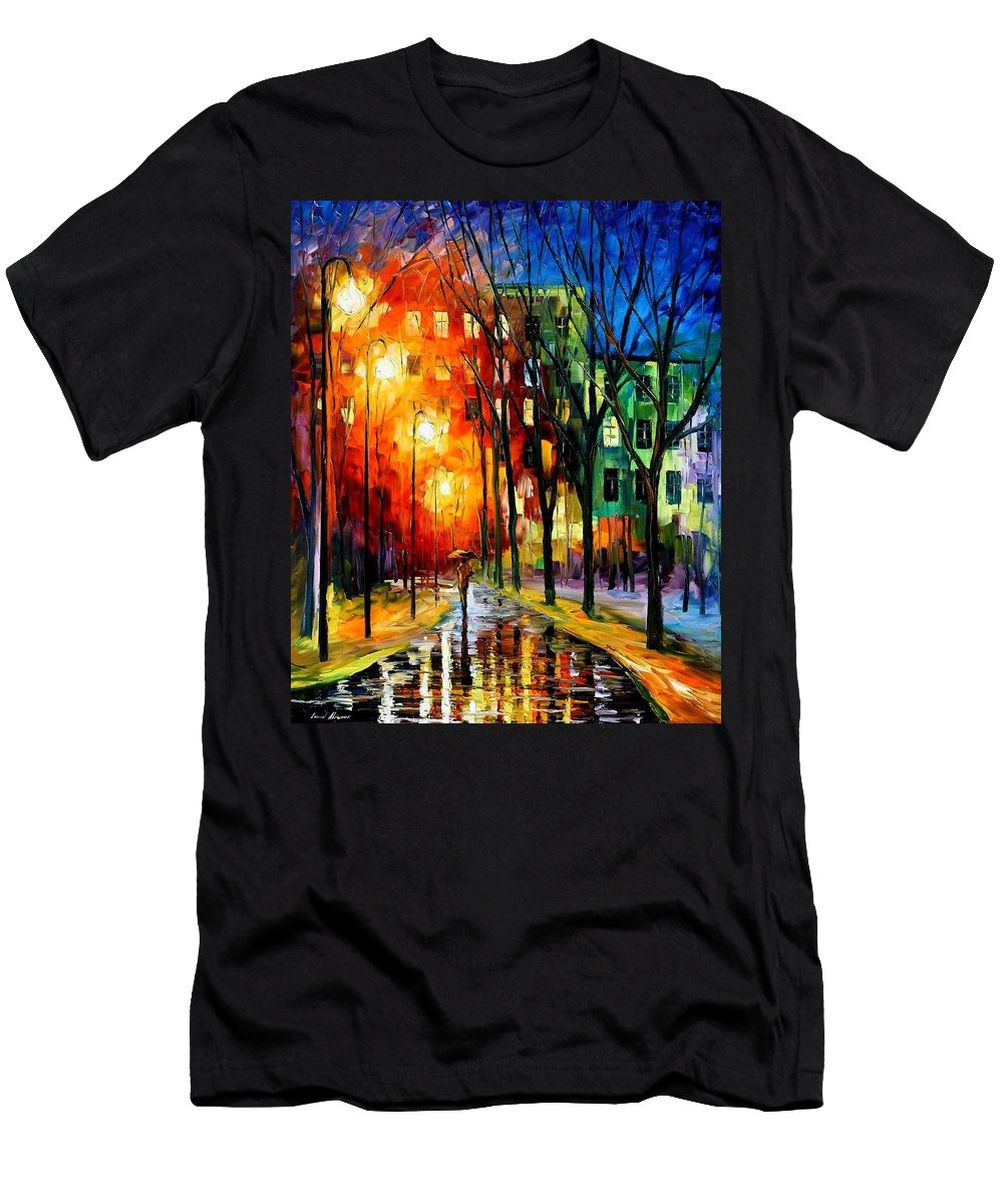 Afremov Men's T-Shirt (Athletic Fit) featuring the painting Farewell To Autumn by Leonid Afremov