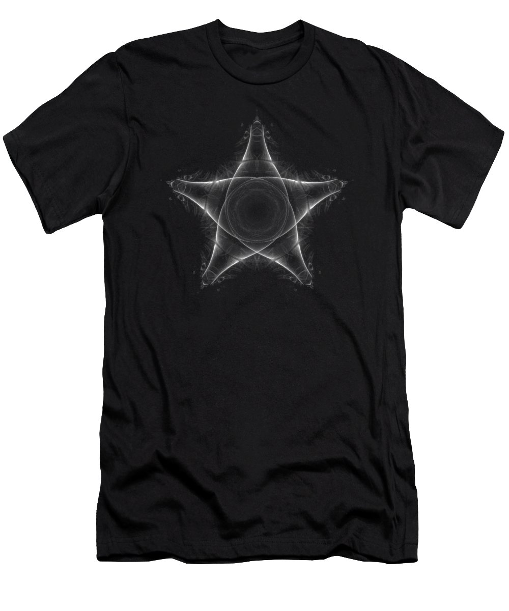 Star Men's T-Shirt (Athletic Fit) featuring the digital art Fat Star Fine Fractal by Piece of Infinity