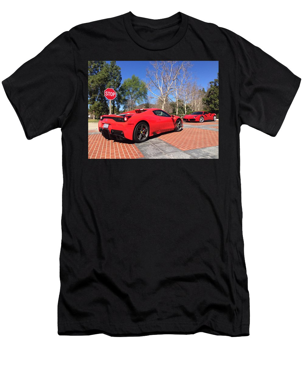 Ferrari 488 And 458 Speciale Aperta Convertible Men's T-Shirt (Athletic Fit) featuring the photograph Ferrari 488 And 458 Speciale Aperta Convertible by MAG Autosport