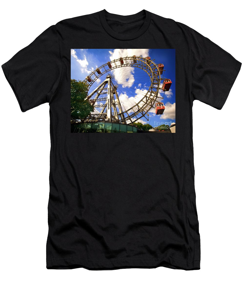 Ferris Wheel Men's T-Shirt (Athletic Fit) featuring the photograph Ferris Wheel At The Prater by Madeline Ellis