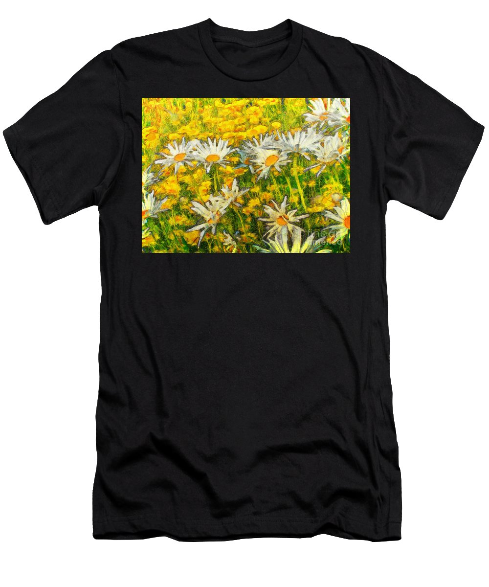 Daisy Men's T-Shirt (Athletic Fit) featuring the painting Field Of Daisies by Claire Bull