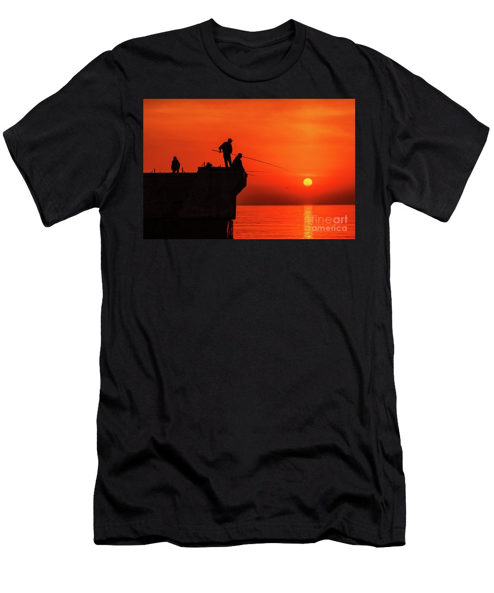 Sea Men's T-Shirt (Athletic Fit) featuring the photograph Morning Fishing 1 by Viktor Birkus