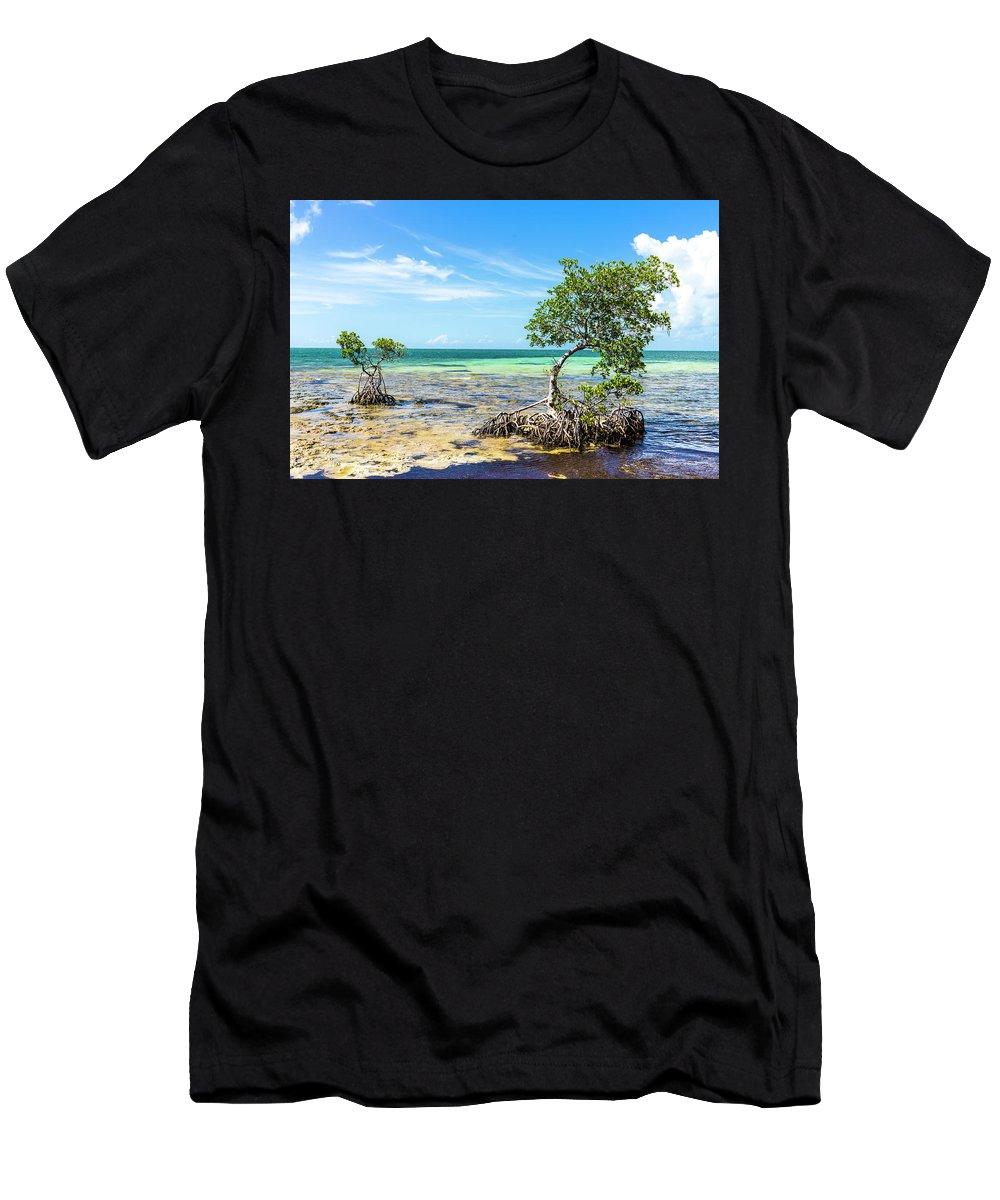 Florida Keys Men's T-Shirt (Athletic Fit) featuring the photograph Florida Keys Mangrove Reef by Oscar Blasingame