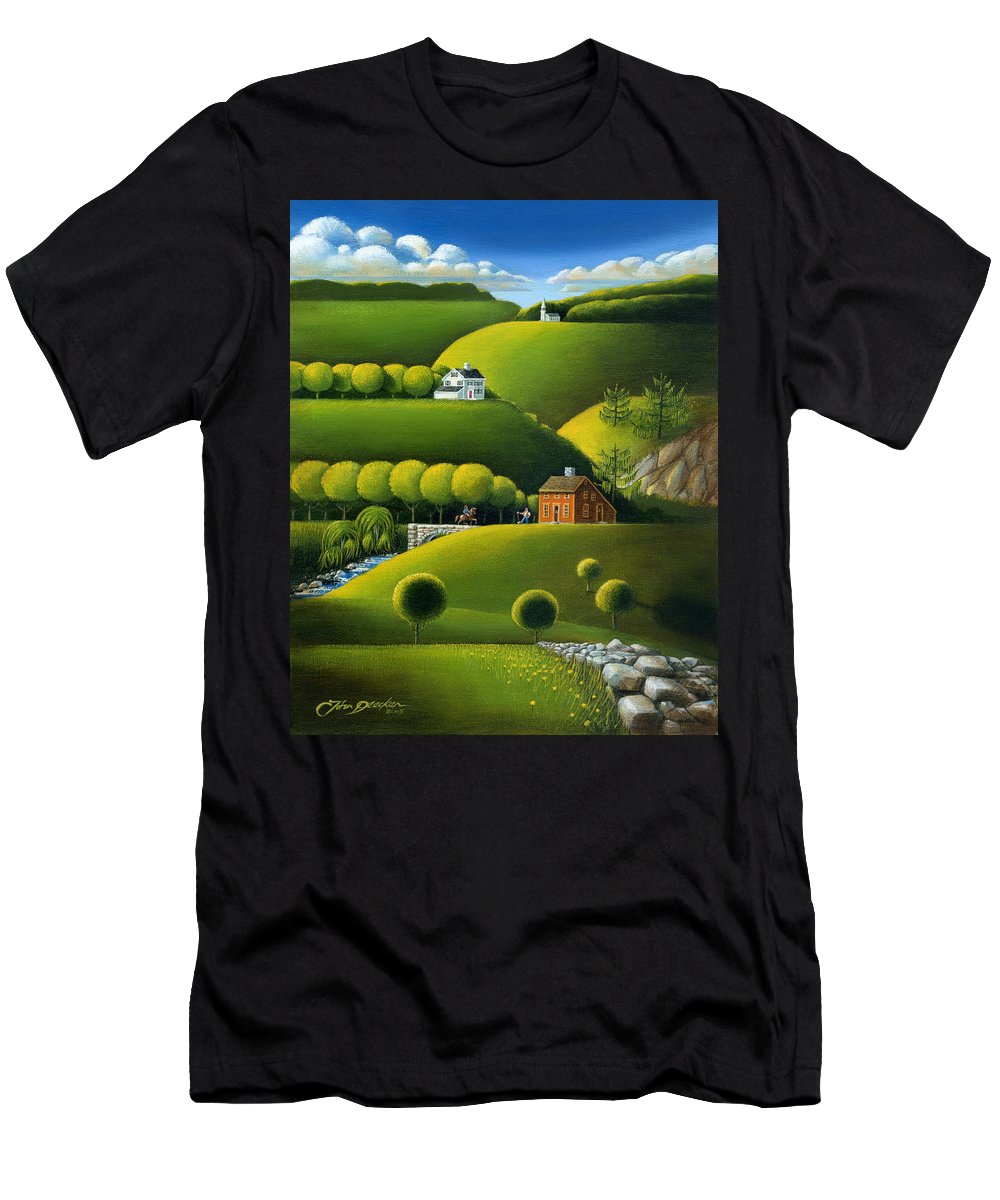 Deecken Men's T-Shirt (Athletic Fit) featuring the painting Foothills Of The Berkshires by John Deecken