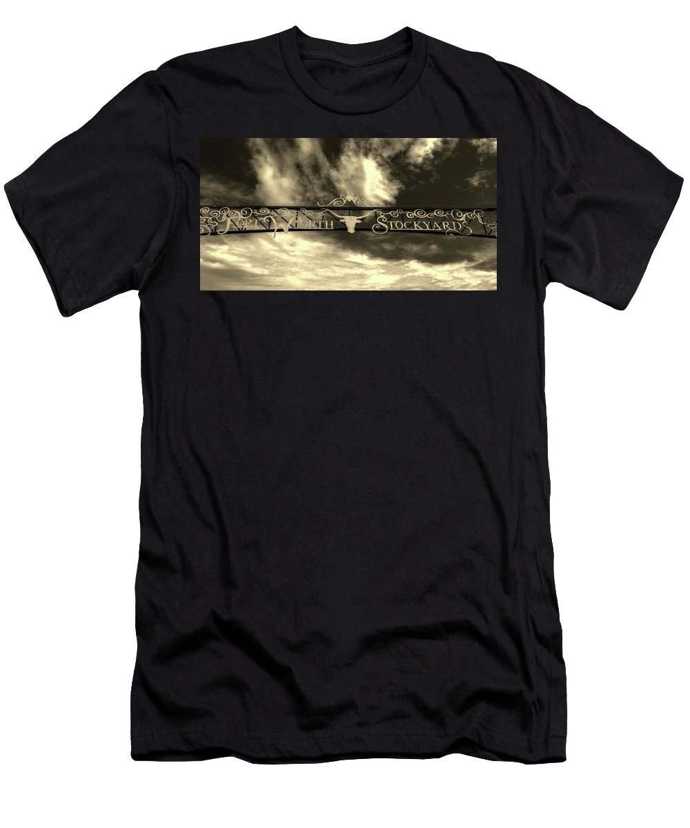 Fort Worth Men's T-Shirt (Athletic Fit) featuring the photograph Fort Worth Stockyards District Archway by L O C