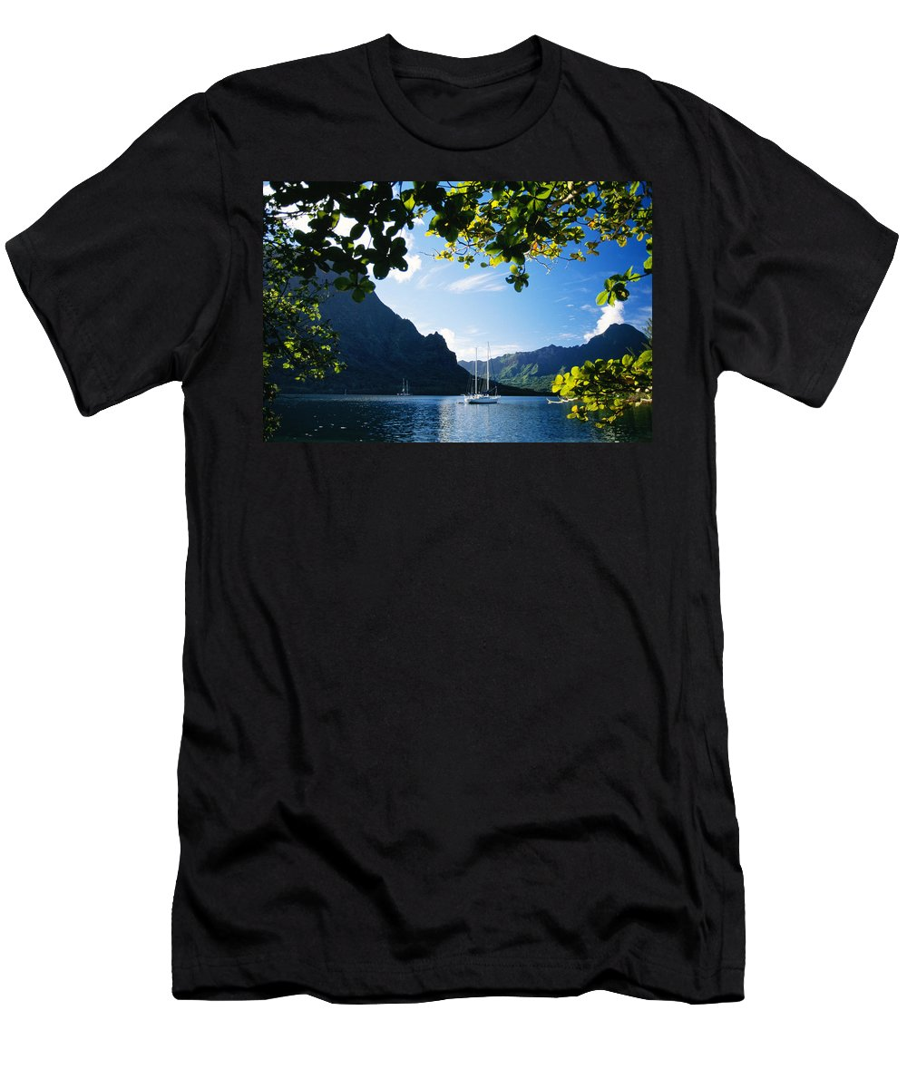 Across Men's T-Shirt (Athletic Fit) featuring the photograph French Polynesia, Moorea by Dana Edmunds - Printscapes