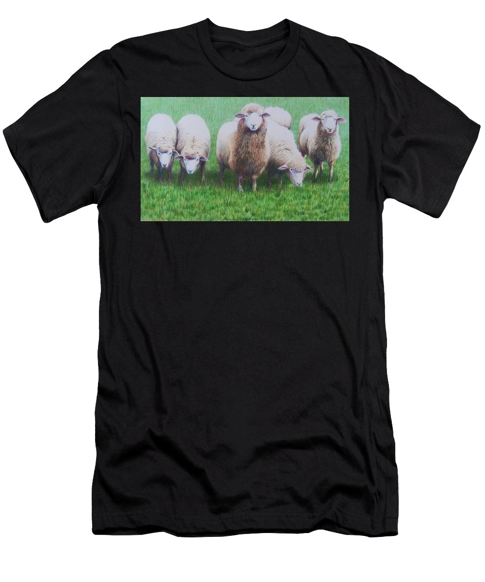 Sheep Men's T-Shirt (Athletic Fit) featuring the mixed media Friends by Constance Drescher