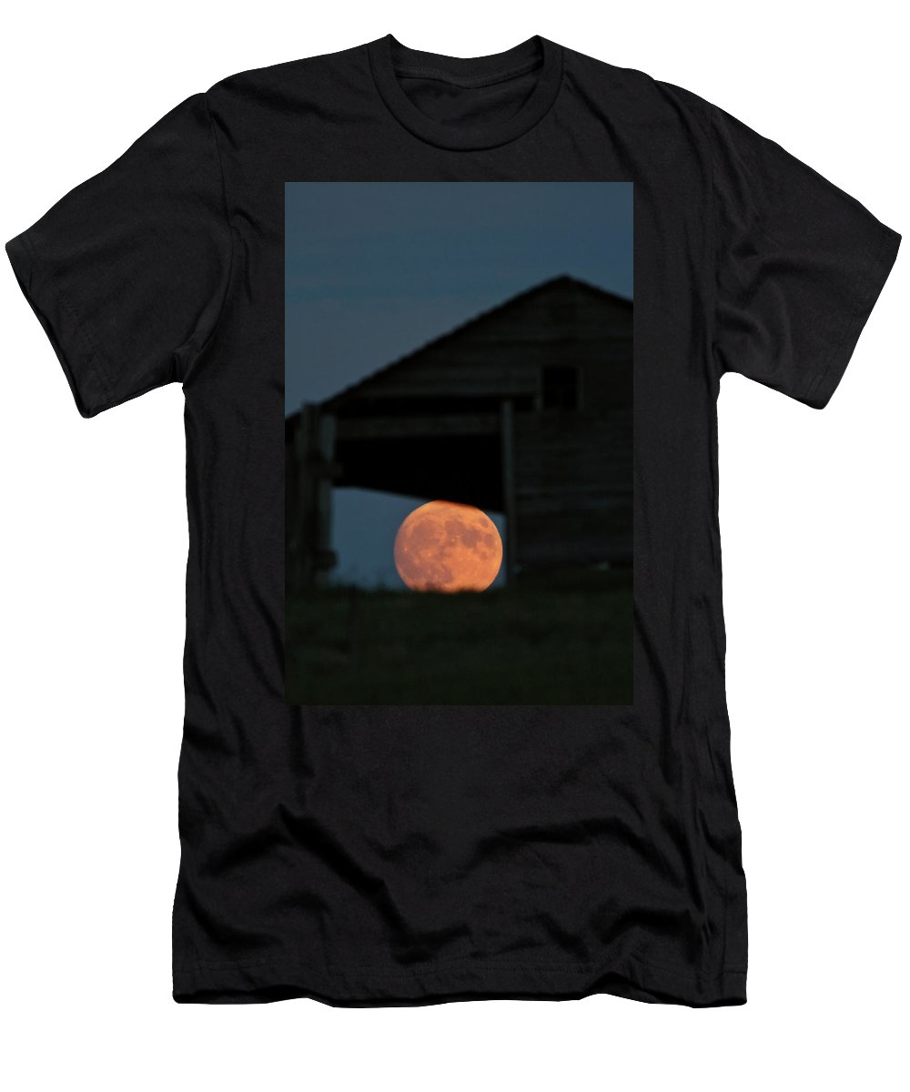 Full Moon Men's T-Shirt (Athletic Fit) featuring the digital art Full Moon Seen Through Old Building Window by Mark Duffy