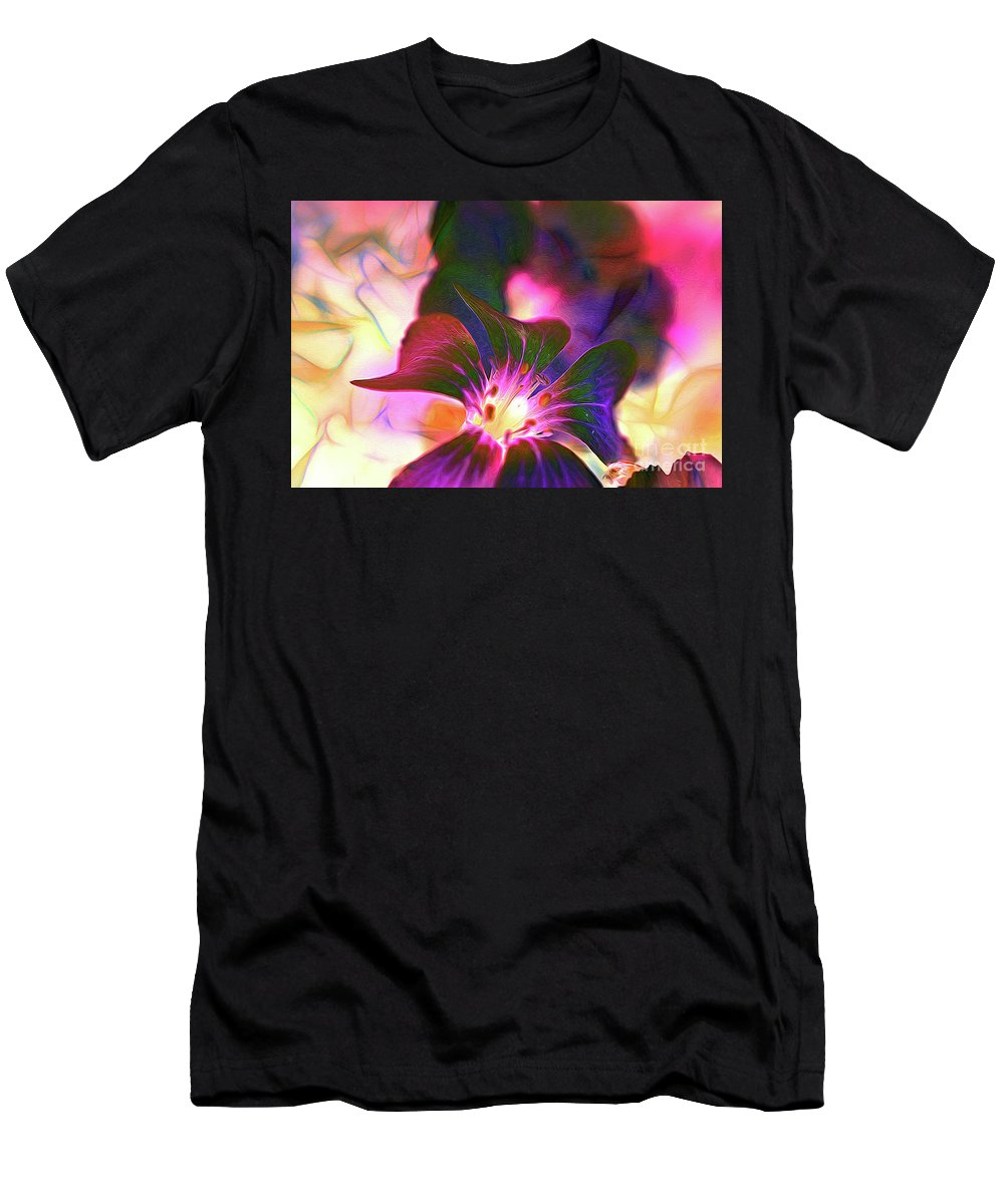 Flowers Men's T-Shirt (Athletic Fit) featuring the photograph Garden Glow by Francine Collier