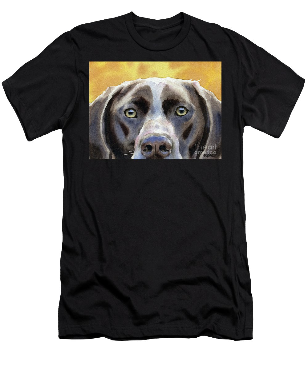 German Men's T-Shirt (Athletic Fit) featuring the painting German Short Haired Pointer by David Rogers