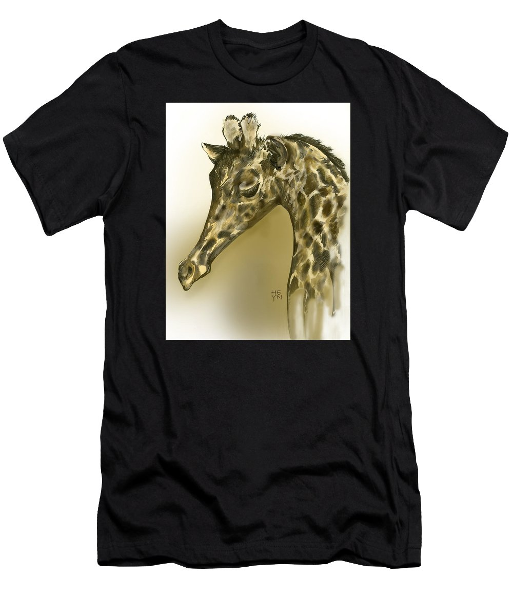 Graphic Men's T-Shirt (Athletic Fit) featuring the mixed media Giraffe Contemplation by Shirley Heyn