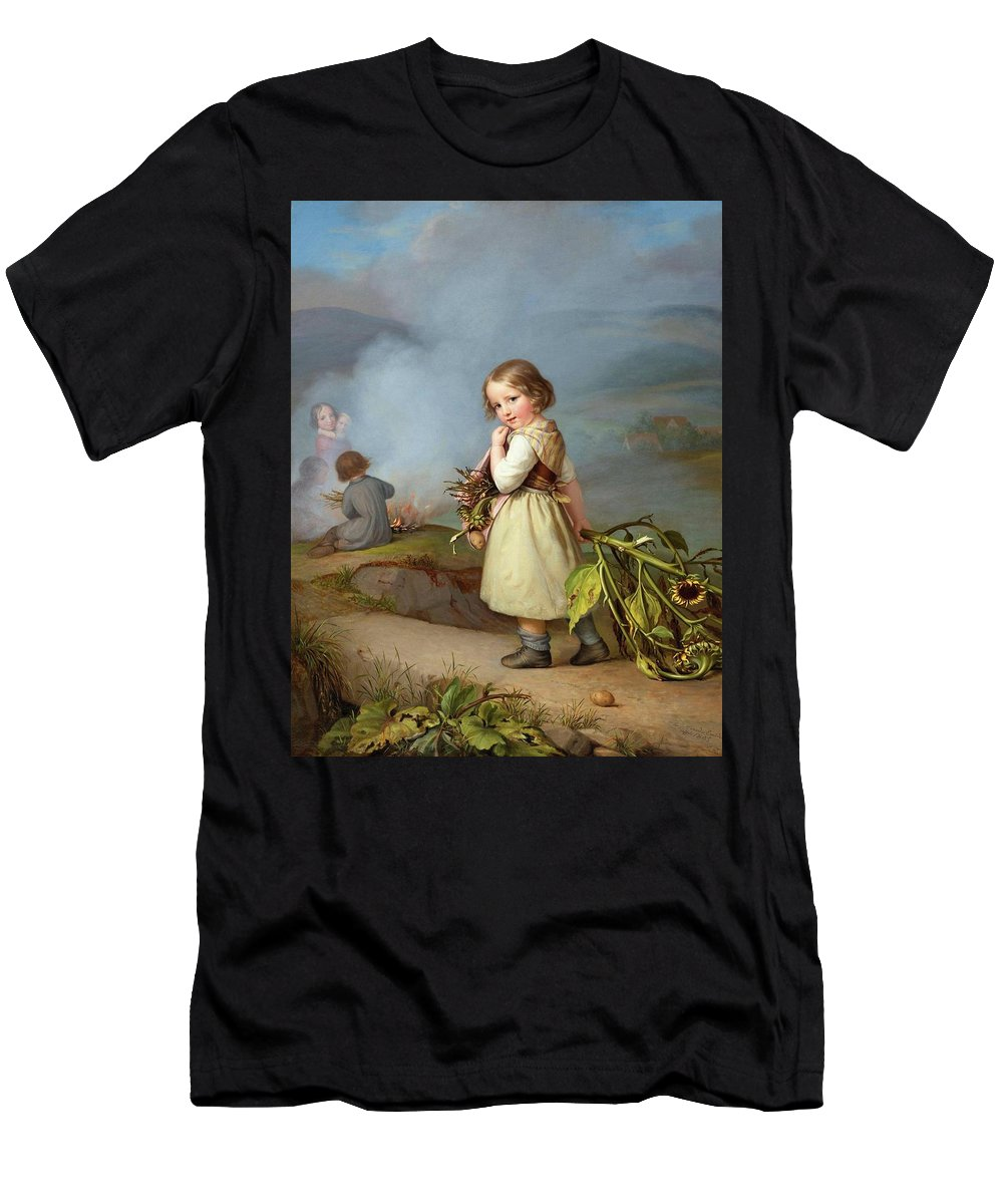 Embde Men's T-Shirt (Athletic Fit) featuring the painting Girl On Her Way To Cooking Potatoes In The Fire by MotionAge Designs