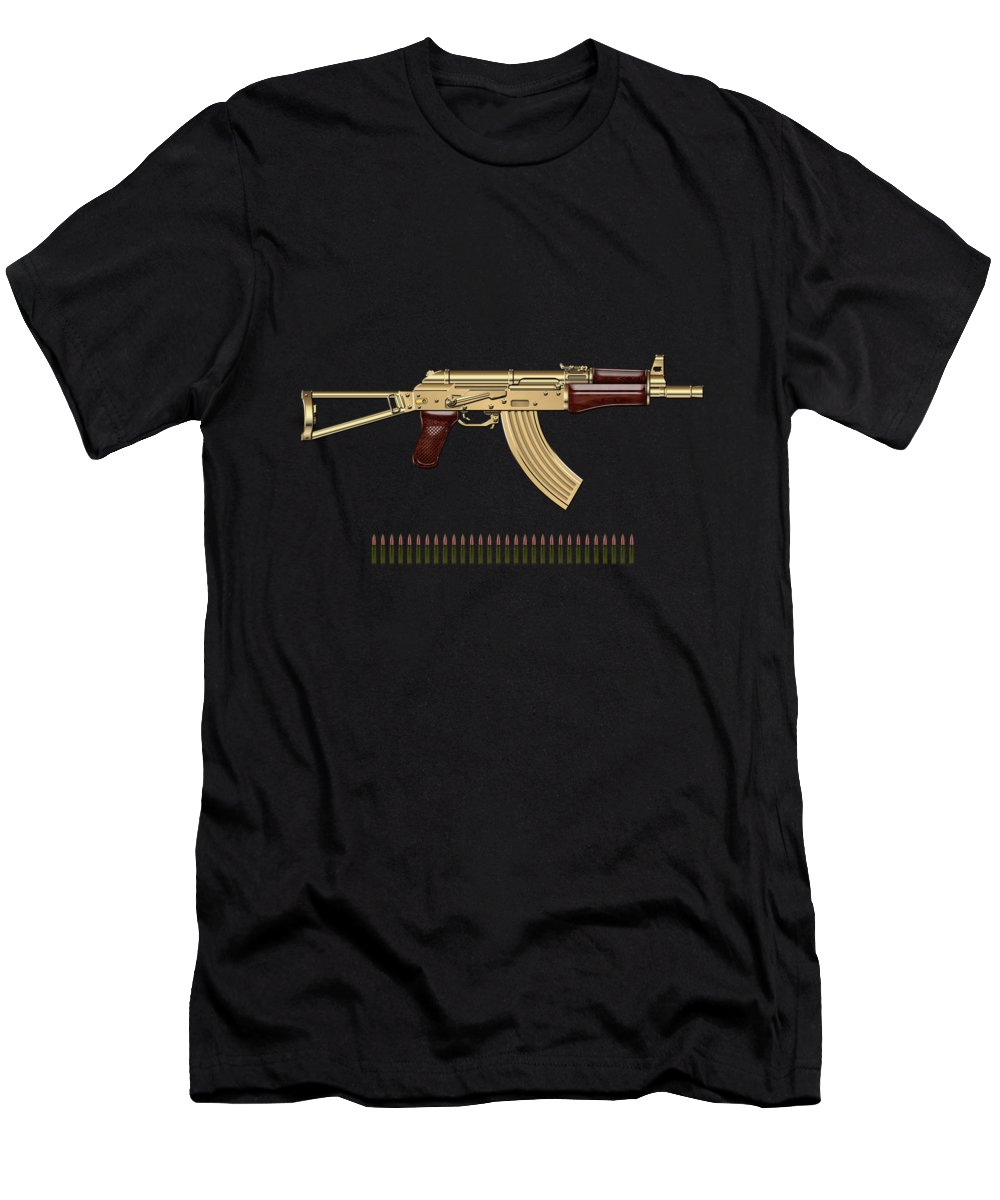 'the Armory' Collection By Serge Averbukh Men's T-Shirt (Athletic Fit) featuring the photograph Gold A K S-74 U Assault Rifle With 5.45x39 Rounds Over Red Velvet  by Serge Averbukh