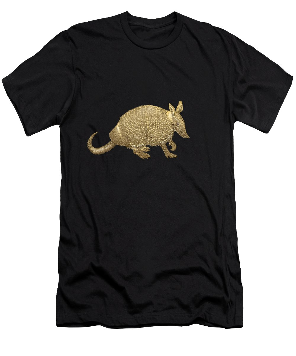 'beasts Creatures And Critters' Collection By Serge Averbukh Men's T-Shirt (Slim Fit) featuring the photograph Gold Armadillo On Black Canvas by Serge Averbukh