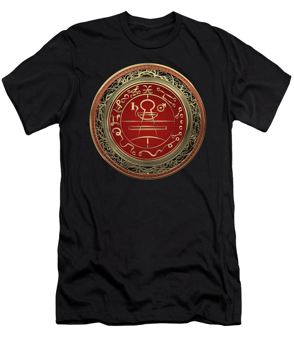 'sacred Symbols' Collection By Serge Averbukh Men's T-Shirt (Athletic Fit) featuring the photograph Gold Seal Of Solomon - Lesser Key Of Solomon On Black Velvet by Serge Averbukh