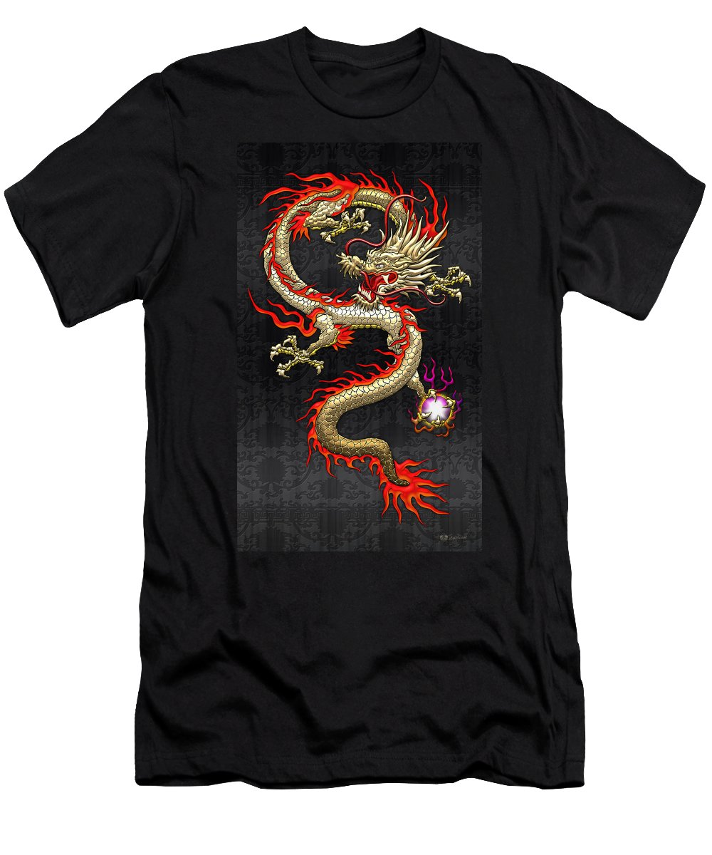 Treasures Of China By Serge Averbukh Men's T-Shirt (Athletic Fit) featuring the photograph Golden Chinese Dragon Fucanglong by Serge Averbukh
