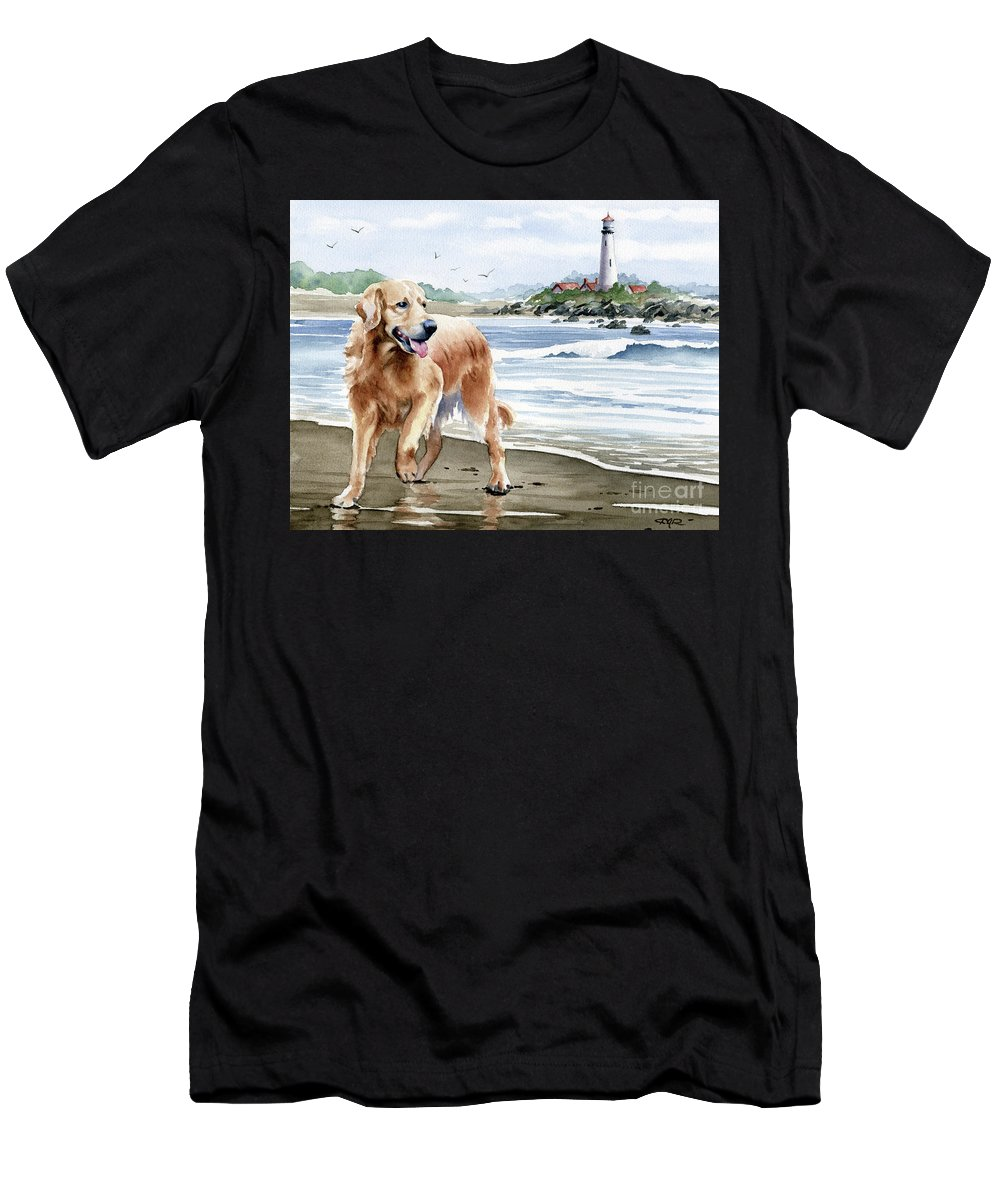 Golden Men's T-Shirt (Athletic Fit) featuring the painting Golden Retriever At The Beach by David Rogers