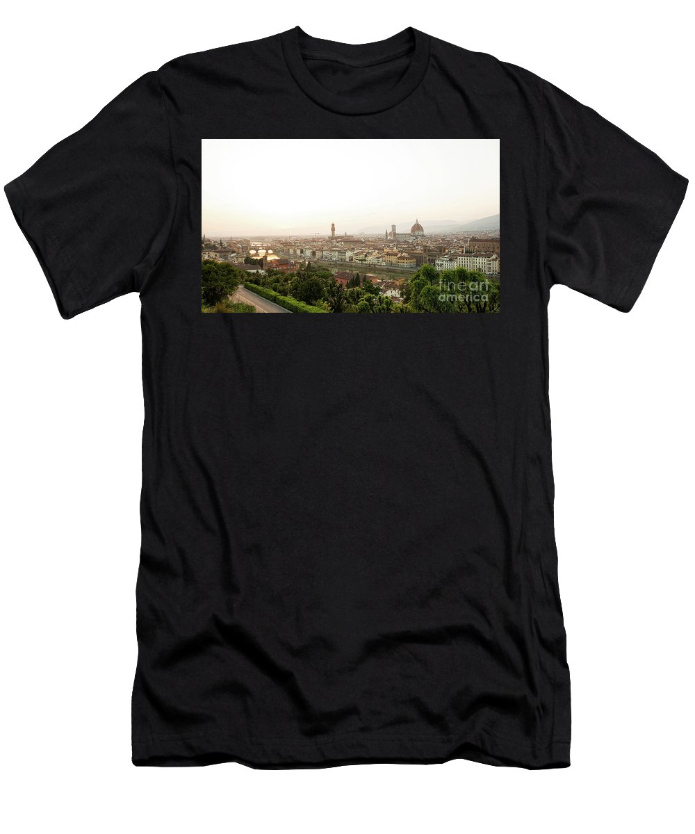 Sunset Men's T-Shirt (Athletic Fit) featuring the photograph Golden Sunset Of Florence, Italy. by Antonio Gravante